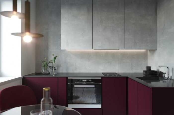 Эксклюзивная бордовая кухня в стиле минимализм, хай-тек, классика. Сочетание цветов в дизайне, видео советы опытных дизайнеров