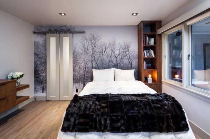 Как выбрать фотообои в спальню: советы, инструкции, фото с описанием стилей, видов и размеров