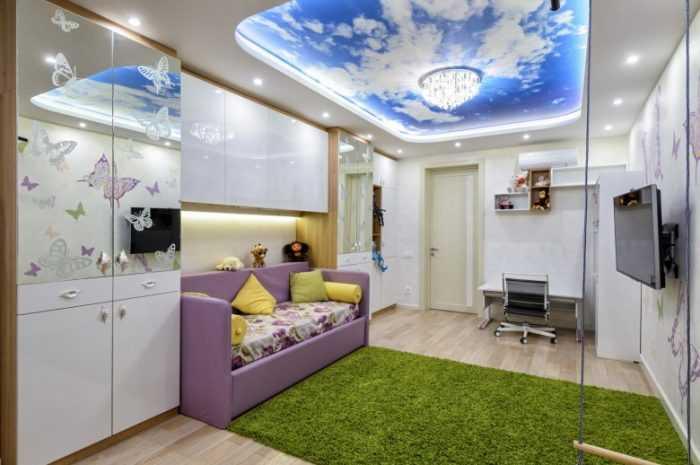 Красивый потолок в детскую — лучшие фото примеры оформления в современном дизайне. Практические советы по освещению (видео инструкция)